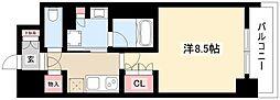 OKBアヴェニール菊井町 7階1Kの間取り