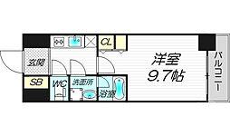 プレサンスNEO淀屋橋 13階1Kの間取り