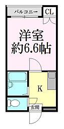 宮城県仙台市青葉区高松1丁目の賃貸アパートの間取り