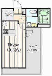 プルーマ武蔵境 4階1Kの間取り