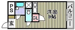 大阪府阪南市尾崎町の賃貸マンションの間取り