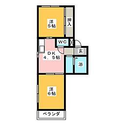キャッスル片岡[4階]の間取り