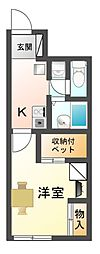 滋賀県高島市安曇川町西万木の賃貸アパートの間取り