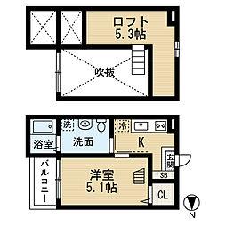 愛知県名古屋市中村区大正町3丁目の賃貸アパートの間取り