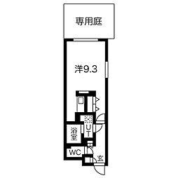 名古屋市営鶴舞線 浄心駅 徒歩5分の賃貸マンション 1階ワンルームの間取り