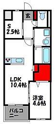 福岡市地下鉄空港線 福岡空港駅 バス15分 下志免下車 徒歩4分の賃貸マンション 2階1SLDKの間取り