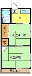 埼玉県川越市稲荷町の賃貸アパートの間取り