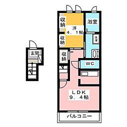 静岡県静岡市葵区瀬名中央2丁目の賃貸アパートの間取り