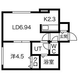 札幌市営東西線 白石駅 徒歩8分の賃貸アパート 1階1LDKの間取り