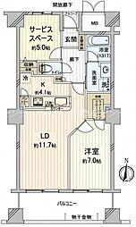 岡山県岡山市北区本町の賃貸マンションの間取り