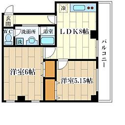 ゴールドクレスト塚本[4階]の間取り