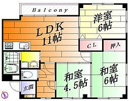 谷川第二マンション[4階]の間取り
