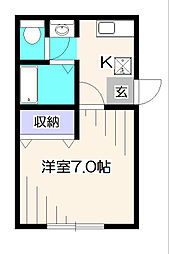 東京都西東京市緑町2丁目の賃貸アパートの間取り