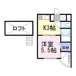 兵庫県加古川市平岡町高畑の賃貸マンションの間取り