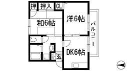 兵庫県川西市久代3丁目の賃貸アパートの間取り