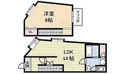 三洋住宅 1階1LDKの間取り