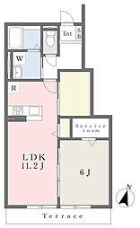 近鉄奈良線 河内花園駅 徒歩8分の賃貸アパート 1階1SLDKの間取り
