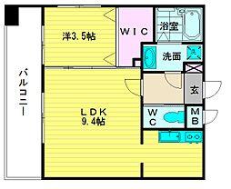 ソシオスヒルズイン博多(403)[4階]の間取り