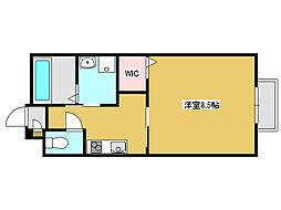神鉄粟生線 小野駅 徒歩10分の賃貸アパート 2階1Kの間取り