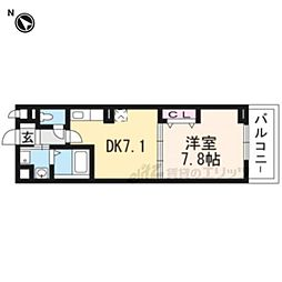 JR奈良線 新田駅 徒歩6分の賃貸アパート 3階1DKの間取り