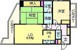 大阪府堺市北区百舌鳥梅北町2丁の賃貸マンションの間取り