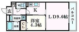 JR東海道・山陽本線 西宮駅 徒歩11分の賃貸マンション 5階1LDKの間取り