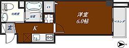 近鉄奈良線 河内花園駅 徒歩3分の賃貸マンション 6階1Kの間取り