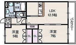 レーベン AZUKI 2階2LDKの間取り