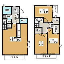 [テラスハウス] 愛知県名古屋市天白区表山1丁目 の賃貸【/】の間取り