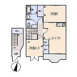 愛知県岡崎市中島町字流の賃貸アパートの間取り