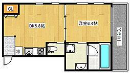 阪神本線 御影駅 徒歩5分の賃貸マンション 1階1DKの間取り