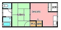 大阪府河内長野市栄町の賃貸アパートの間取り