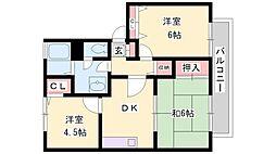 兵庫県高砂市神爪2丁目の賃貸アパートの間取り