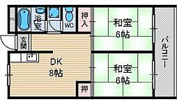ローズハイツ茨木[1階]の間取り