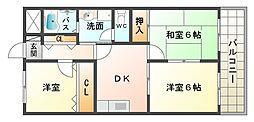 大阪府大阪市平野区瓜破1丁目の賃貸マンションの間取り