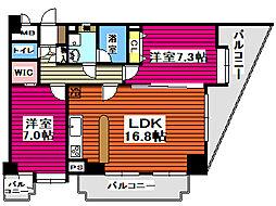 仙台市営南北線 北仙台駅 徒歩8分の賃貸マンション 8階2LDKの間取り