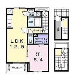 都営新宿線 瑞江駅 徒歩16分の賃貸アパート 3階1LDKの間取り