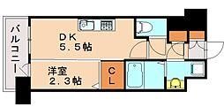 アルファシオリエンソ 13階1DKの間取り