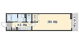 南海線 羽倉崎駅 徒歩13分の賃貸アパート 2階1Kの間取り