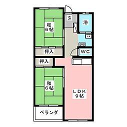花池コーポラス[4階]の間取り
