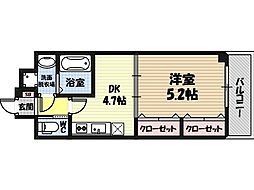 セントアミー鶴見 4階1DKの間取り