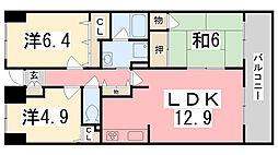 兵庫県姫路市砥堀の賃貸マンションの間取り