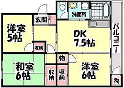 大阪府堺市西区浜寺南町2丁の賃貸マンションの間取り