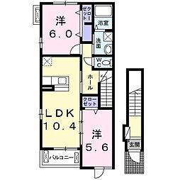 大阪府堺市南区野々井の賃貸アパートの間取り