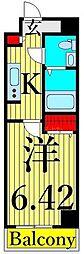 SQUARE CITY SHINKOIWA 11階1Kの間取り