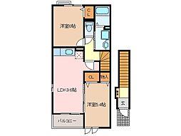 三重県松阪市石津町の賃貸アパートの間取り