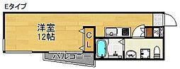フェリオ南津守 4階ワンルームの間取り