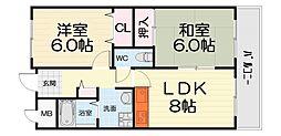 大阪府堺市西区浜寺石津町西2丁の賃貸マンションの間取り