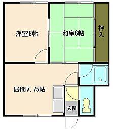 北海道小樽市若竹町の賃貸アパートの間取り