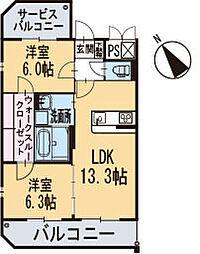 新築東大友町マンション[305号室]の間取り